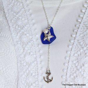Sea Glass Necklace Cobalt Blue